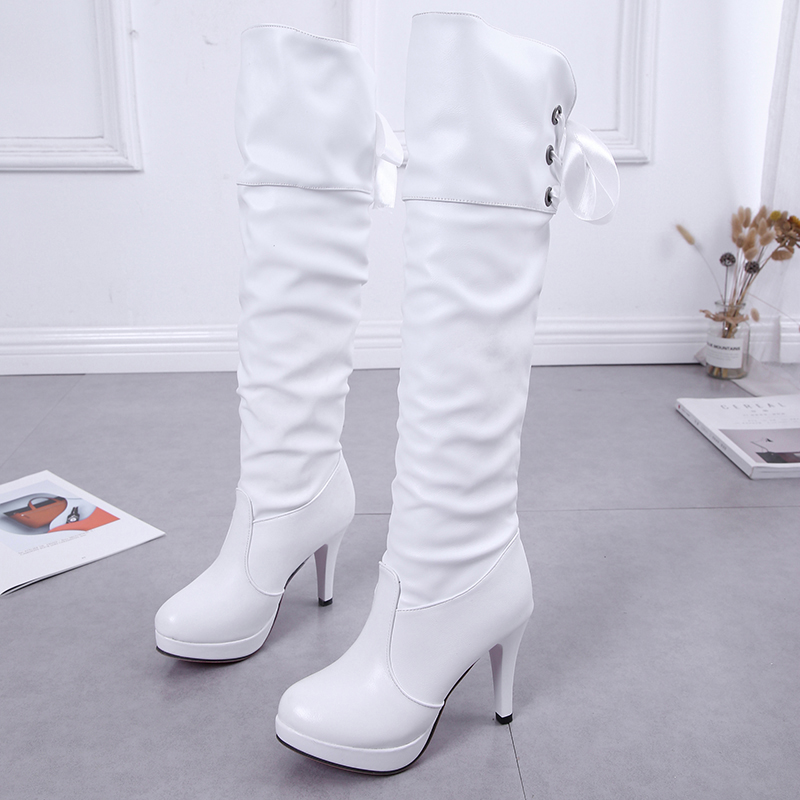 HQFZO PU Soft Leather Over Knee High Heels Boots Platform Warm Plush Woman 39 s Winter Long Boots Zapatos Mujer Black White Boots in Over the Knee Boots from Shoes