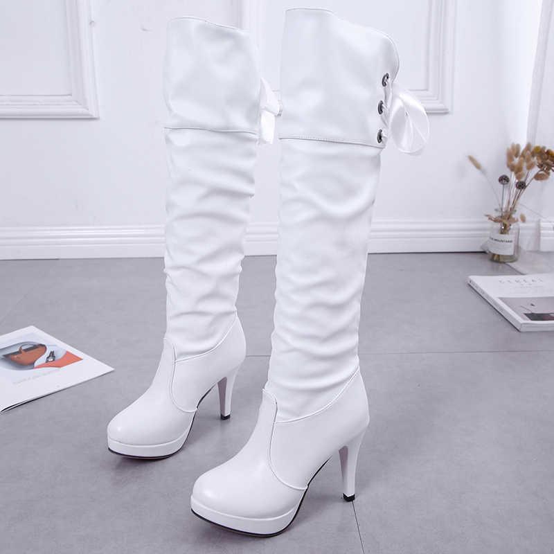 HQFZO PU หนังเข่ารองเท้าส้นสูงรองเท้าแพลตฟอร์ม WARM Plush ผู้หญิงฤดูหนาวรองเท้า Zapatos Mujer สีดำสีขาวรองเท้า