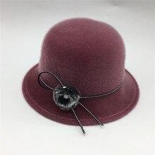 Elegant Ladies Round Cloche Bucket Cap Female Church Hat Mane Hairball Sequins Fedoras Warm Felt Winter Top