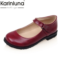 Karinluna Women's Mary Jane Shoes Woman Round Toe Rubber Sole Comfortable Flat Oxfords Big Size 31-43