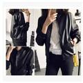 Women Bomber Jackets 2015 Autumn And Winter Europe New Fashion Leather Motorcycle Jacket Womens Slim Black Collar Zipper Coat