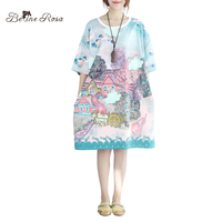 BelineRosa Plus Size Women's Tunic Enchanted Storybook Castle Printing Romantic Ladies Summer Shirt Dress TYW00485