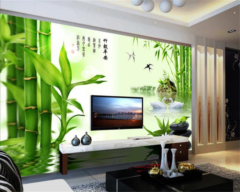 Beibehang Custom Wallpaper Living Room Bedroom Mural 3D Wallpaper Clear Bamboo Bamboo Report Safe TV Background papel de parede