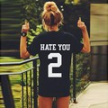 Stylish Women Casual Personality Back Hate you Print O-Neck Short Sleeve All-match Black Loose T-shirt Tops plus size S-XL