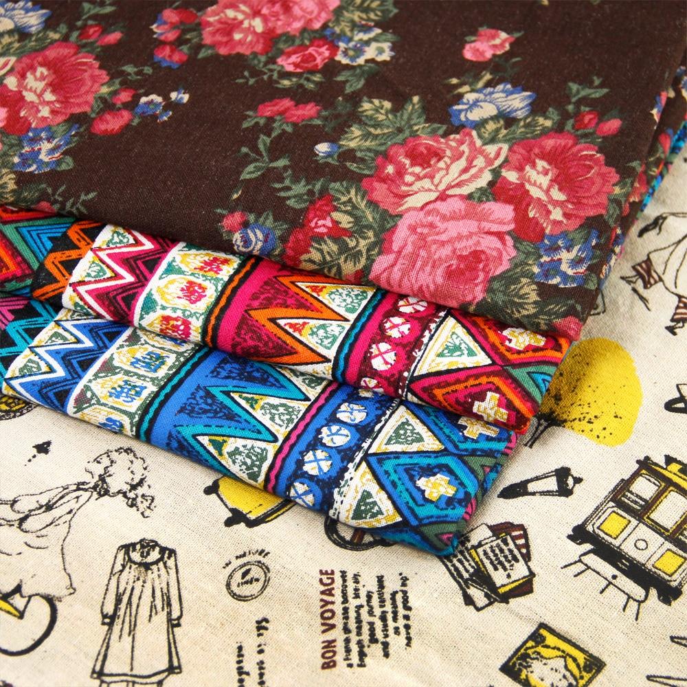 50*147 CM tela de algodón para Niños Tejido de Lino ropa de Cama textil para el hogar de Coser Tilda Muñeca, flor de Café taza Geometría argyle, c837