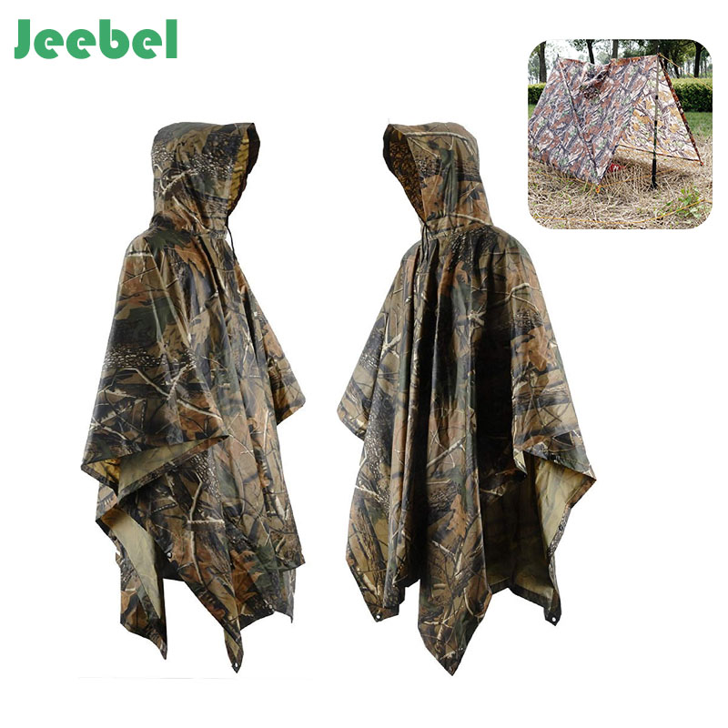 Jeebel Multifunctional Camo Raincoat Military Impermeable Waterproof Rain Coat Men Women Camping Fishing Motorcycle Rain Poncho floral chiffon dress long sleeve