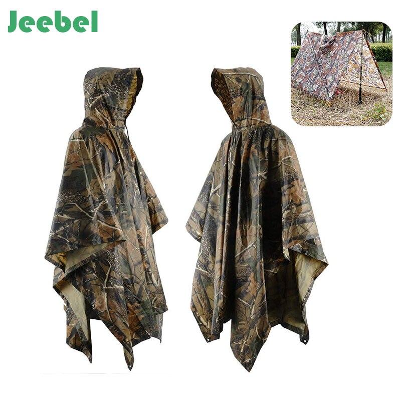 Jeebel Multifonctionnel Camo Imperméable Militaire Imperméable Imperméable Pluie Manteau Hommes Femmes Camping Pêche Moto Poncho De Pluie