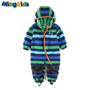 Image 1 - UmkaUmka barboteuse en coquille souple pour garçons, imperméable et coupe vent, vêtements pour bébés à capuche, mi saison, meilleure vente