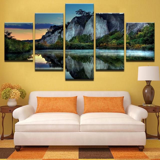 Frame Pictures Vintage Mountain Peak Home Decor Lake Landscape ...
