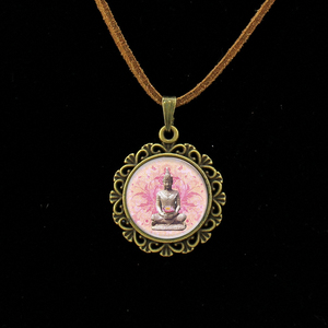 Image 3 - Collier Collares Maxi Necklace Om Yoga Muslim Zen Necklace Mandala Religious Culture Jewelry Henna Buddhism Meditation Pendant