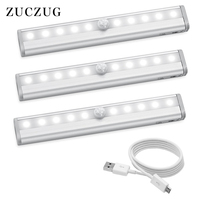 ZUCZUG Motion Sensing Closet Lights, USB Rechargeable Led, 10 LED Wireless Night Light for Cabinet, Closet, Wardrobe (3PACKS)