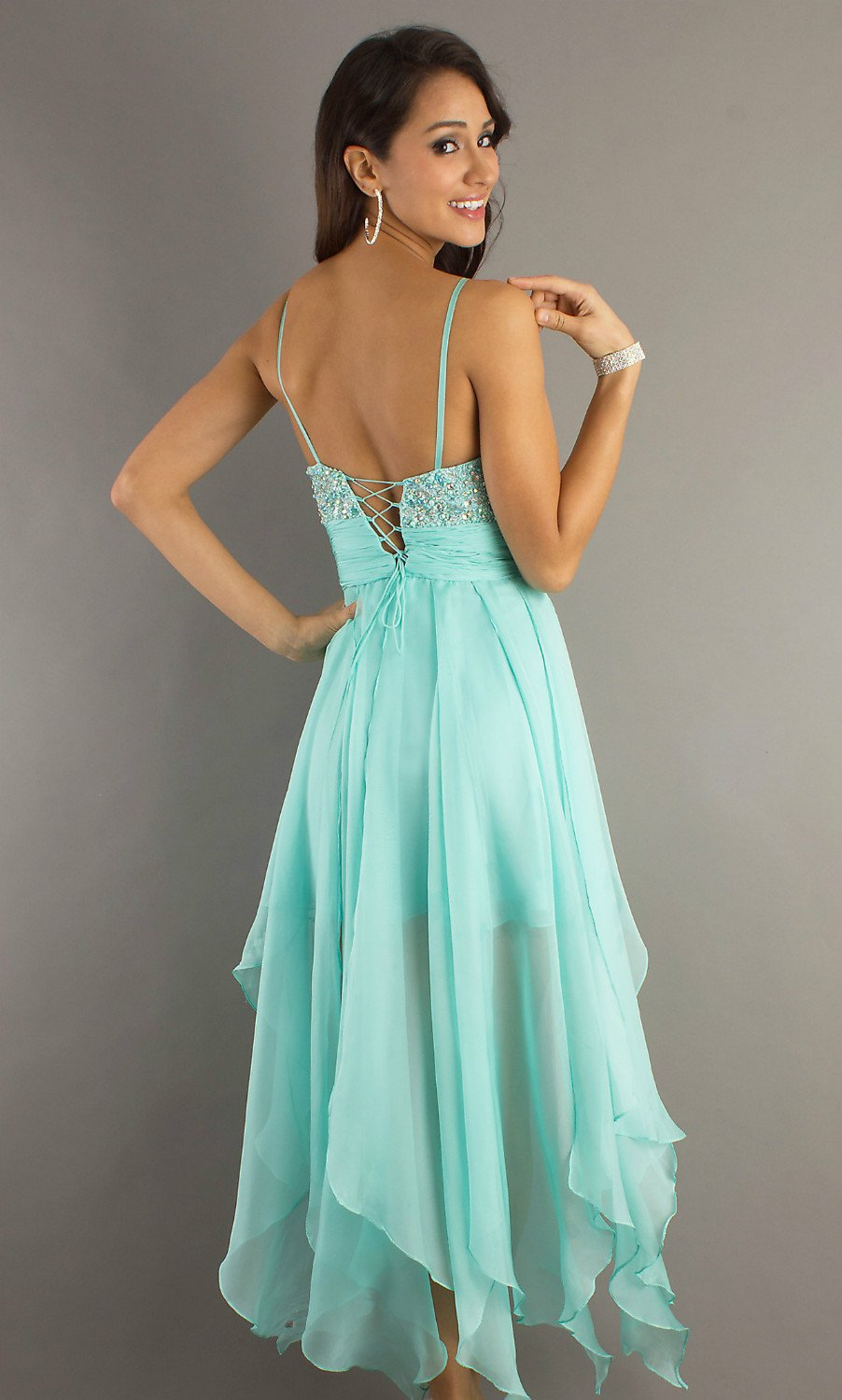 c93fb73241 US $128.75 |Free Shipping Beaded Aqua Chiffon High Low Prom Dresses  Spaghetti Straps VY019-in Prom Dresses from Weddings & Events on  Aliexpress.com | ...