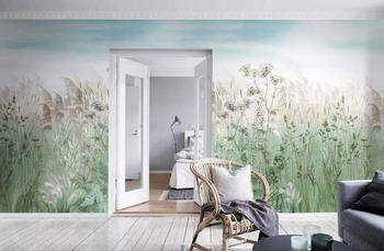 Whole house custom reed garden hand-painted background wall professional production mural wallpaper custom poster photo wall hand painted color oil painting background wall professional production mural factory wholesale wallpaper poster photo wall