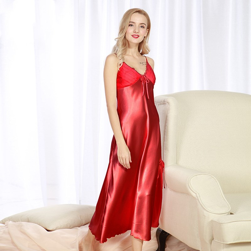 Nightgown Women 2018 Summer Hot Pure silk nightgown ms spring and summer super long split sexy nightgown sexy household to take