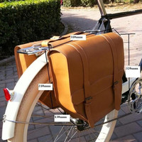 E0999 Retro Bicycle After frame bag Chocolate 100% head layer yellow cowhide bike Rear rack bag Bicycle Parts 1pcs