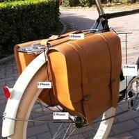 E0999 Retro bisiklet sonrası şasi çantası çikolata 100% kafa katman sarı sığır derisi bisiklet arka raf çanta bisiklet parçaları 1 adet