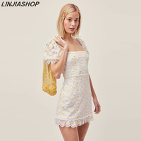 For love Brulee Daisy Mini Dress Women Soft Tulle Hidden Zip At Back Lace Trim Lining Allover Floral Embroidery Summer dress