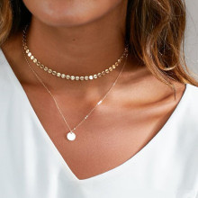 2019 Summer Simple Gold Coin Layered Choker Necklace for Women Multi Layer Chain Necklaces Collier Femme цена 2017