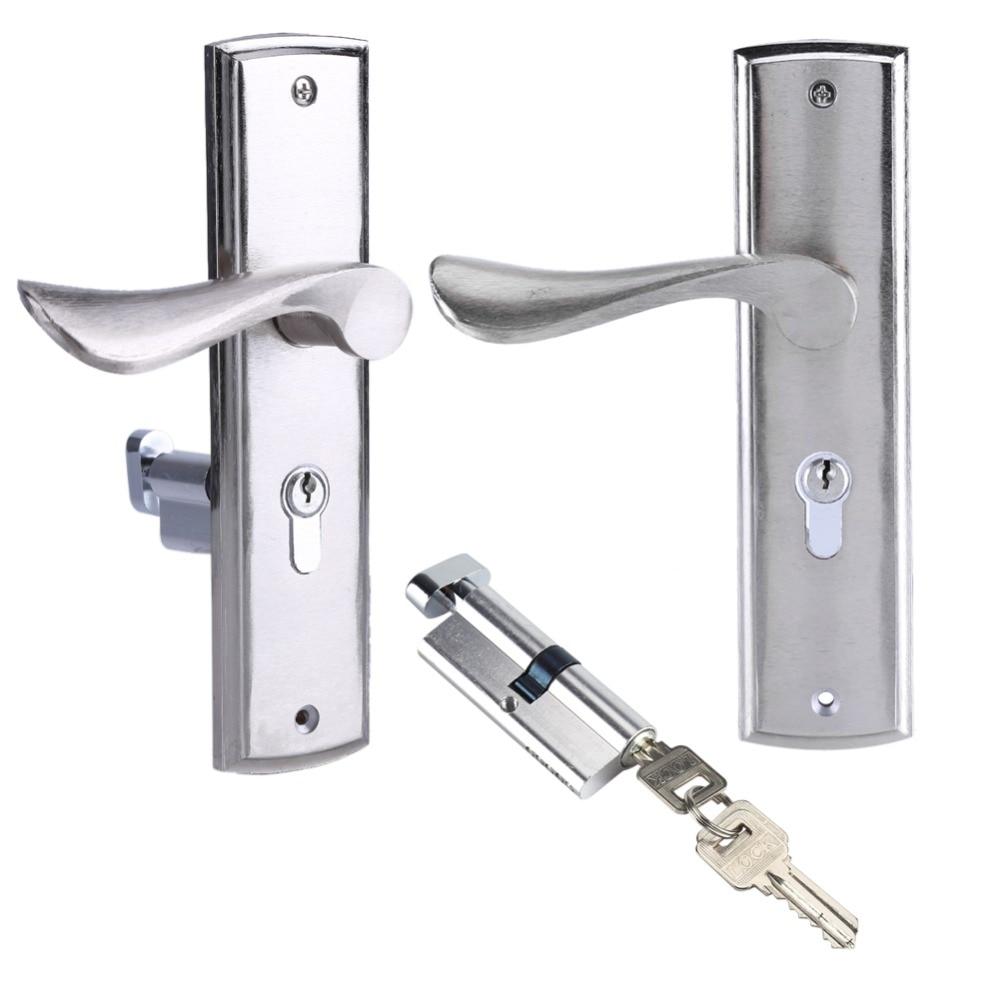 Aluminum door lock interior home door handle lock durable front back lever latch lock cylinder for Interior door locks and latches