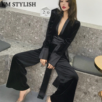 Supermodel High Waist Blue Belt Jumpsuit Female Autumn Winter New Velvet Long Sleeve V neck Wide Leg Pants Slim Black Jumpsuit