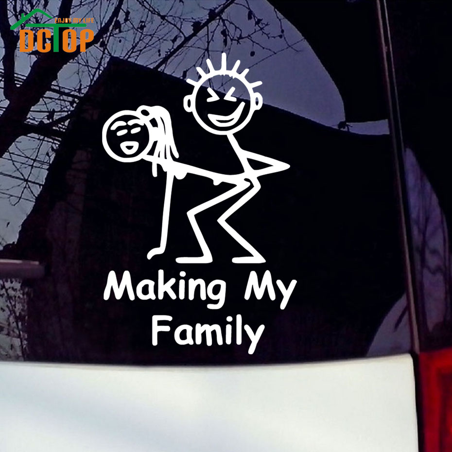 Car sticker design family - Bumper Making My Family Funny Car Stickers Sexy Posture Pattern Car Styling Decals Vinyl Adhesive Sticker