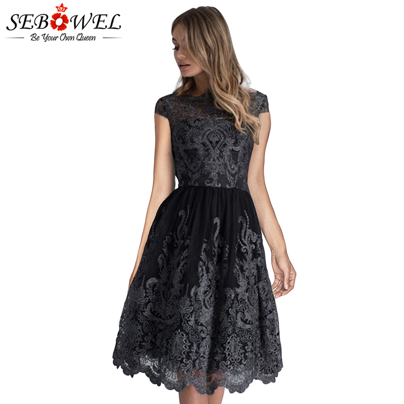SEBOWEL Green Lace Embroidered Party Dress Women Elegant Prom Evening Gown  Sexy Short Sleeve Pleated Dress Vestido De Festa -in Dresses from Women s  ... 7aeb801af28b
