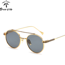 DRESSUUP Marco de Aleación de gafas de Sol de Las Mujeres Diseñador de la Marca de Moda Ronda Vintage Hombres Gafas de Sol de Color Gafas De Sol Gafas Feminino