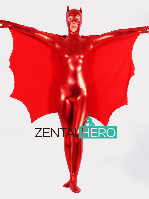 Free Shipping DHL Sexy Red Adult Catwoman Shiny Metallic Animal Zentai Suit With Tail For Halloween Batgirl M53