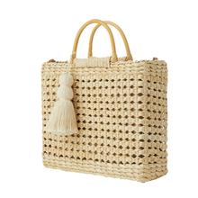 Summer Beach Straw Shoulder Bag Hand Woven Tote Handbag Crossbody Drawstring Tassel Square Hand Bags Handmade Handbags Women Bag недорого