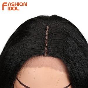 Image 5 - IDOL mody luźne włosy peruki syntetyczne dla czarnych kobiet peruka z mocnymi lokami 18 cal żaroodporne Cosplay peruki syntetyczne koronki peruka