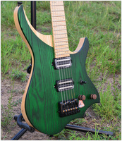 NK Headless Electric Guitar style Model Green Color Flame maple Neck in stock Guitar free shipping