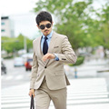 Por Encargo de Un Solo Pecho Hombres Trajes de Moda Populares Mejor Hombre Esmoquin vestido de Novia de Alta Calidad Khaqi 3 UNID (Chaqueta + Pants + Tie)