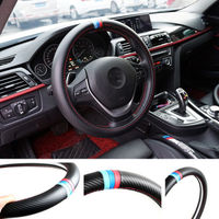 1Pcs Car Steering Wheel Cover M Power Carbon Fiber 3Colors Leather Strips Embroider M 15 Inches For M M1 M3 M5 M6 X1 X3 X5 X6