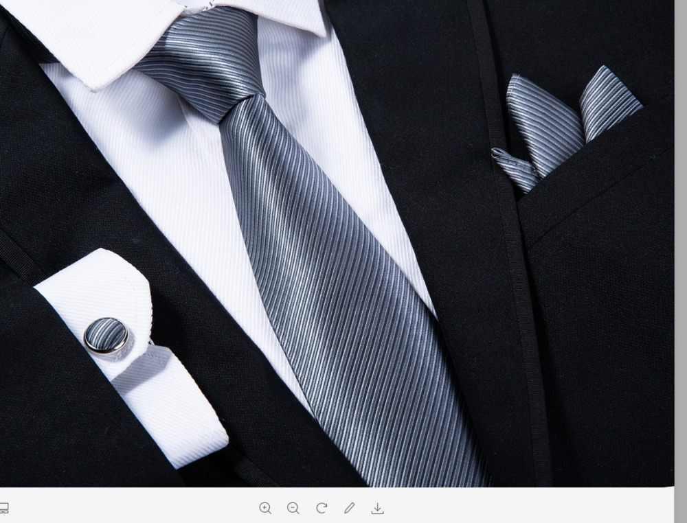 Ikepeibao hombres a rayas gris lazos con gemelos pañuelo corbata Jacquard  tejido de corbatas para los bec7be4f1182