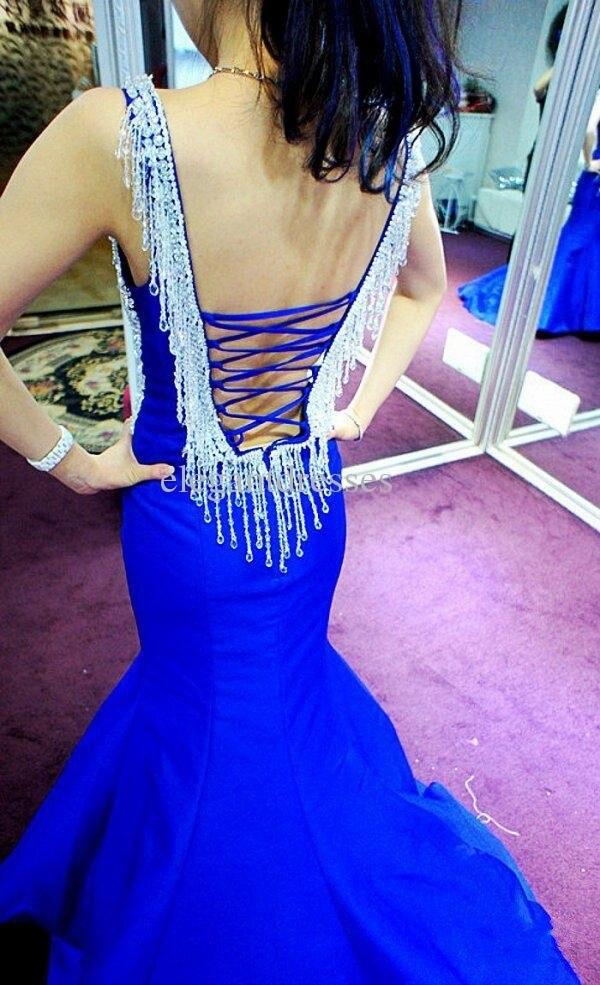 Обычный заказ красивые кристаллы бусины сердечком тонкая лямка королевский синий русалка пром платье / вечерние платья - Цвет: Синий