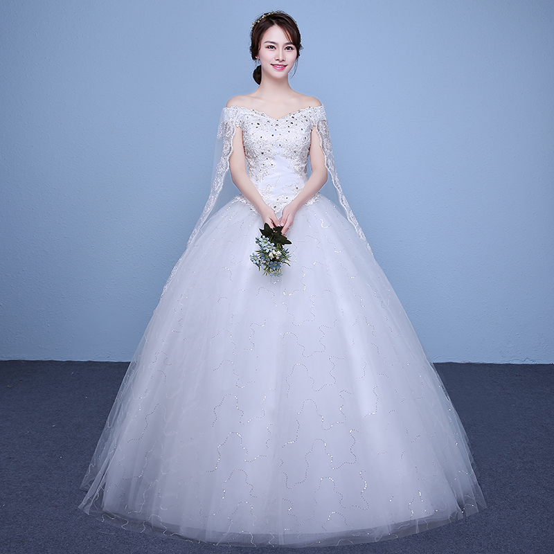 Wedding White Gowns For Womens: New 2017 Plus Size Boat Neck Short Sleeves Wedding Dresses