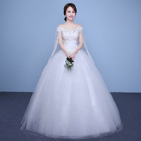 New 2017 Plus Size Boat Neck Short Sleeves Wedding Dresses Cheap Red White Bride Frock Custom