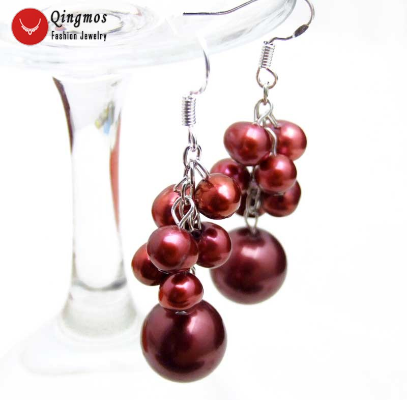 Qingmos Wine Red 6-7mm Pearl Dangle Grape Earrings for Women with Round Red Sea Shell Pearl Earring Jewelry & Silver 925 Hook