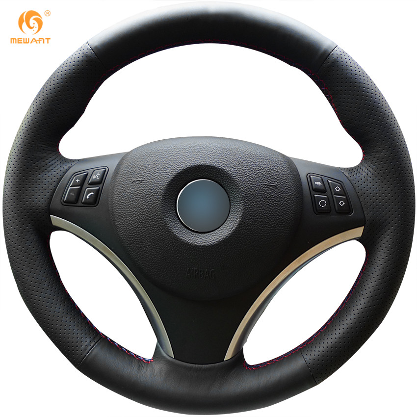 MEWANT Black Genuine Leather Car Steering Wheel Cover for BMW E90 320i 325i 330i 335i E87 120i 130i 120d runba ice silk steering wheel cover sets with red thread