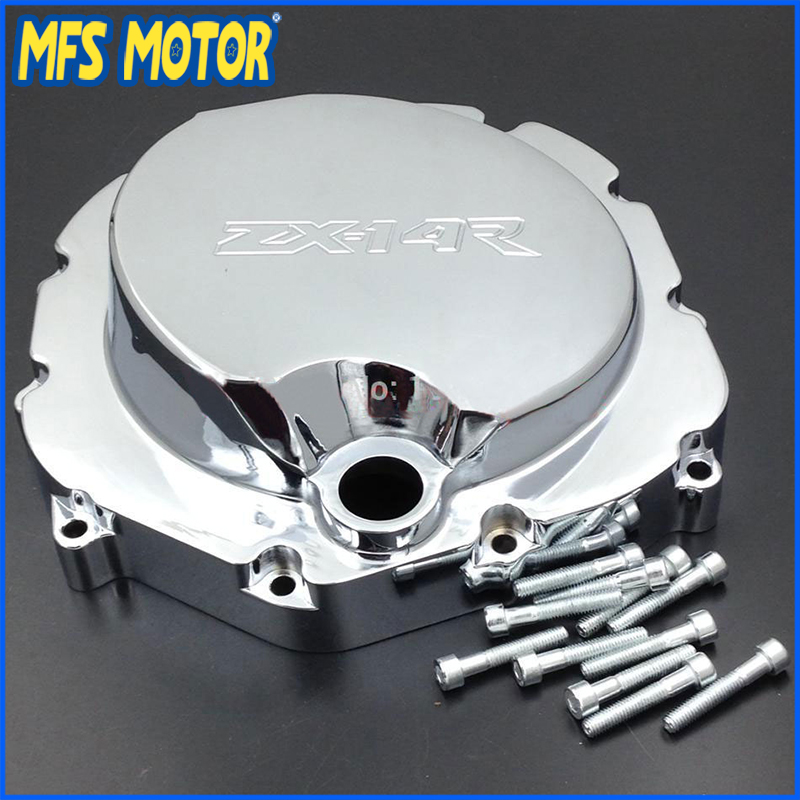 Freeshipping Motorcycle right Engine Clutch cover for Kawasaki ZX14R ZZR1400 2006 2007 2008 2009 2010 2011 2012 2013 CHROME the new motorcycle bike 2006 2007 2008 2009 2010 2011 kawasaki zx 10r zx10r zx 10r knife brake clutch levers cnc