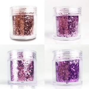 Image 4 - 4 boxes/Set Chunky Nail Glitter Powder 23 Colors Mix Hexagon Glitter Dust Sequins Sparkling Chunky For Body Face Tattoo 10ml/box