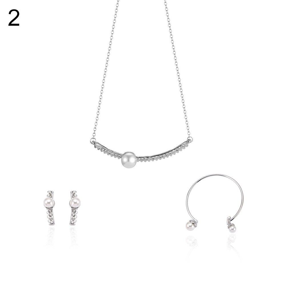 Women Fashion Faux Pearl Rhinestone Necklace Open Bangle Earrings Jewelry Set