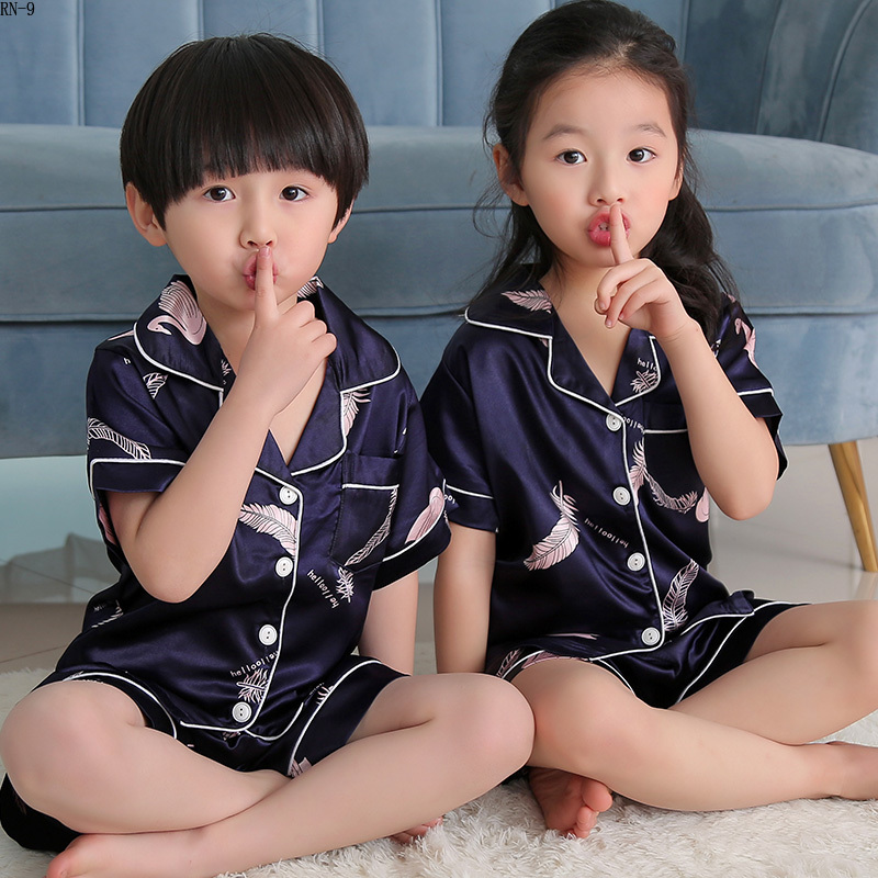 Summer Children Short Pajamas Sets 2019 Cute Silk Sleepwear Girls Short Kids Pijamas Boy Short Top and Pant Print Kids Pajamas 3