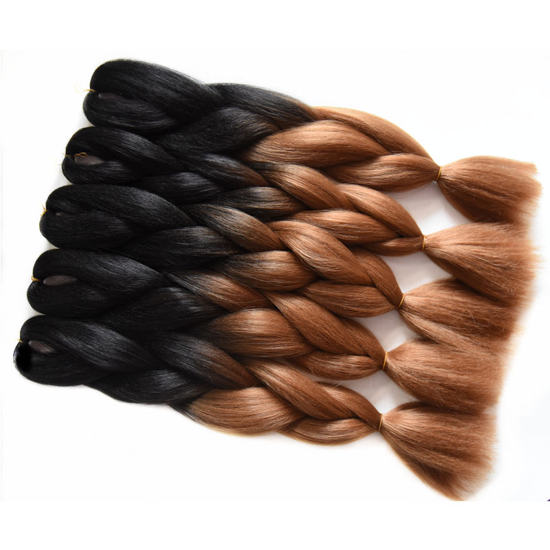 Full Star 5pcs Brown Ombre Black Hair Jumbo Crochet Braids High Temperature Fiber 24 Inch 100g Straight Synthetic Hair Bundles