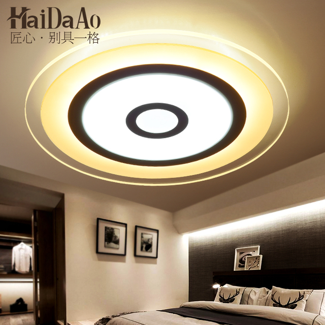 US $134.34 6% OFF|Circular led suction dome light simple modern bedroom  lamp warm room living room lighting lamp remote control light-in Ceiling ...