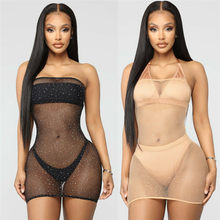 2019 Sexy Women Fishnet Mesh Beach Dress Bikini Cover Up Lady Sleeveless Strapless Mini Dress Summer Women Sequins Dress(China)
