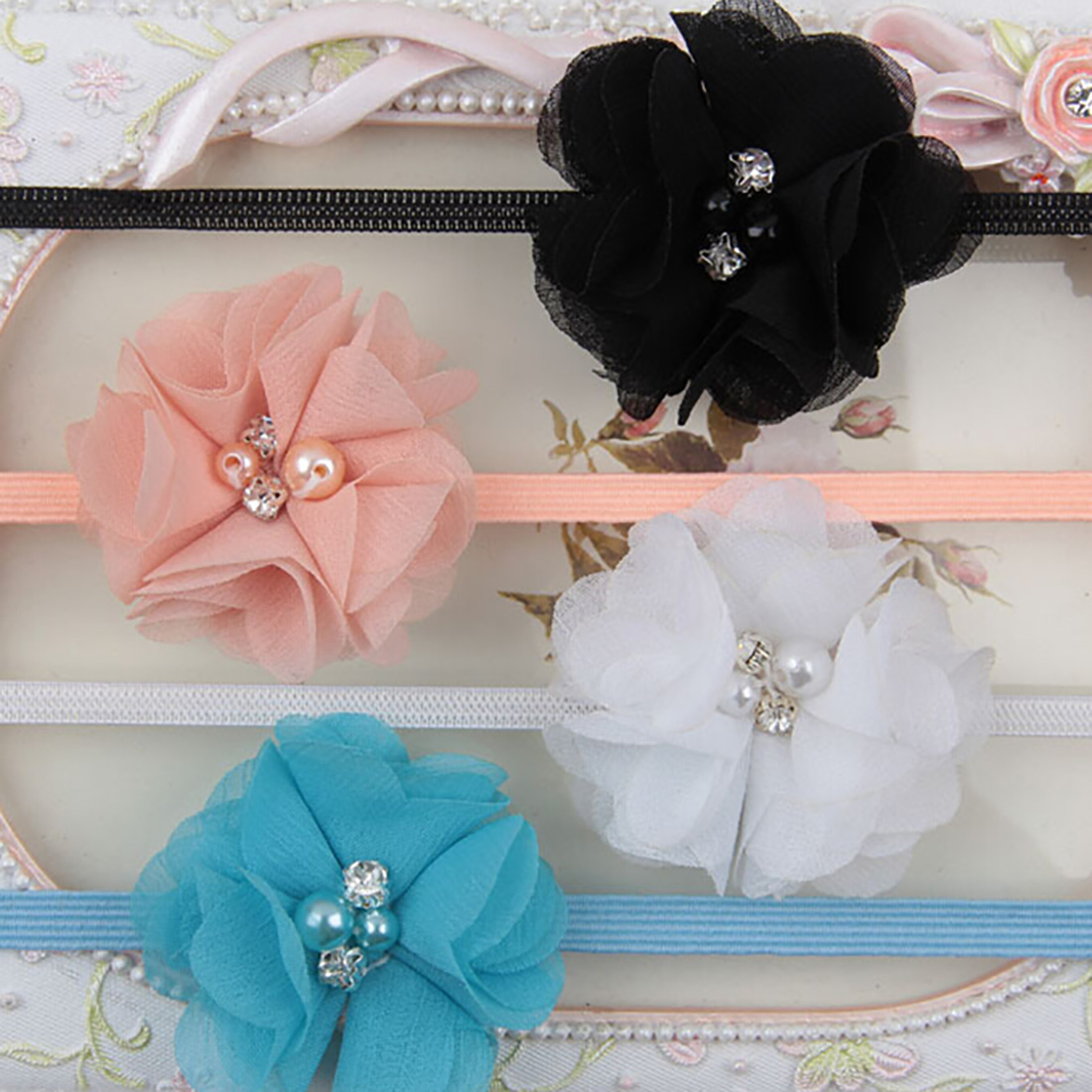 Women Girls  Chiffon Pearl Flower Hair Band Cute Soft Crystal Fabric Headbands headband Hair Accessory for Girls Kids