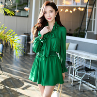 Original 2018 Brand Spring New Green Long Sleeved Jumpsuit Elastic Waist Ruffled Vintage Bow Chiffon Playsuits