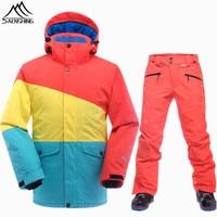 SAENSHING Brand Ski Suit Men Winter Snowboarding Suits Waterproof Thermal Snowboard Jacket Ski Pants Breathable Snow