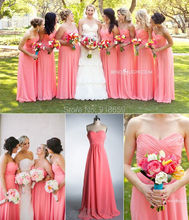 Long Style A Line Coral Bridesmaid Dress 2016 vestido de festa de casamento braidsmaid dresses